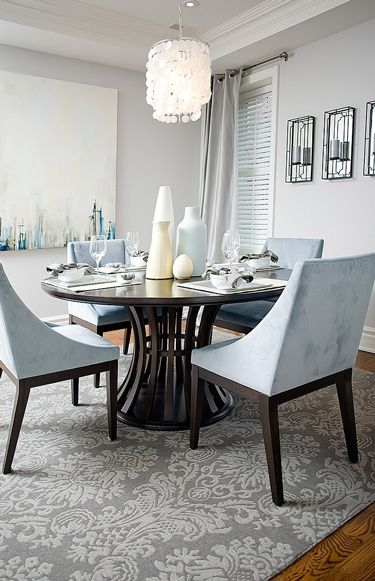 I love this cool blue-grey dining room. The chairs are from West Elm ...