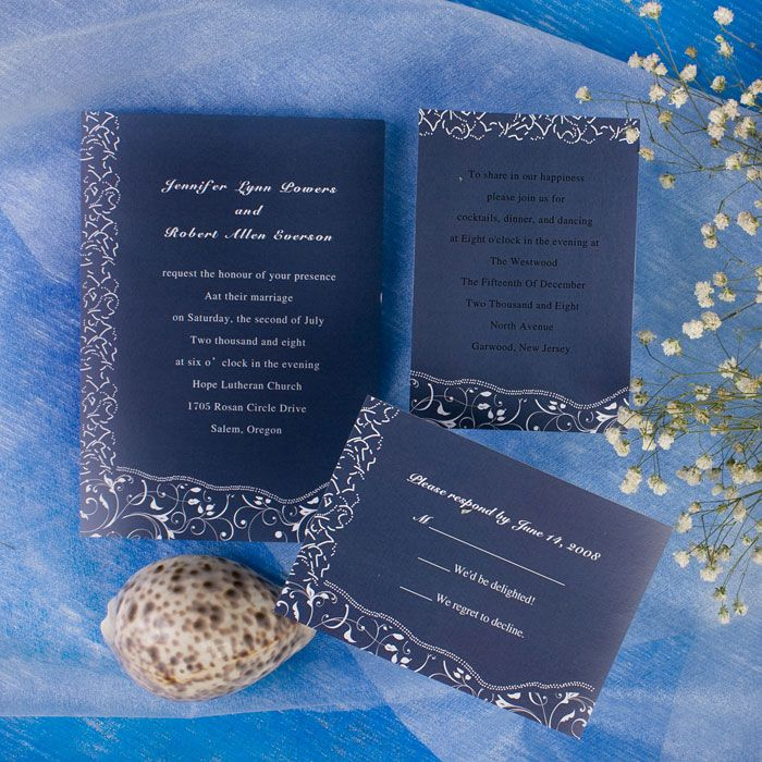 printable elegant blue floral inexpensive wedding invites
