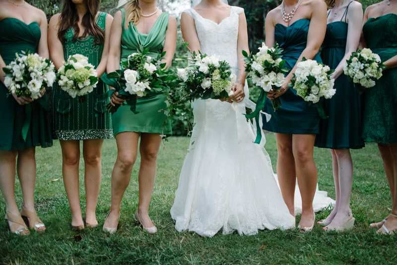 #green bridesmaid dresses   Sean Money + Elizabeth Fay on The Lovely Find   see more on www.thelovelyfind.com...