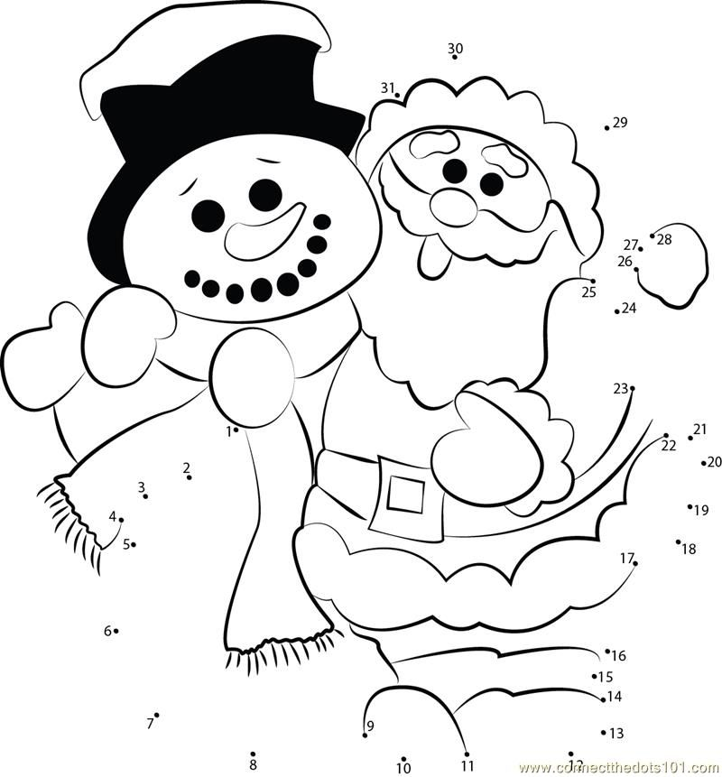 Connect the dots santa clause snowman holidays for Snowman dot to dot coloring pages