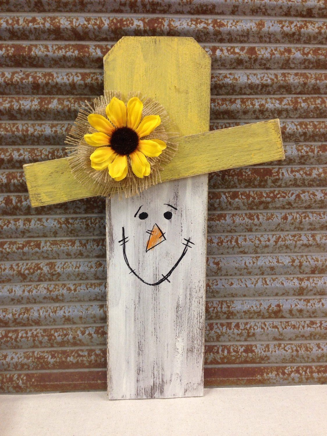 Wood Scarecrow Handmade With Hand Painted Face Sunflower With