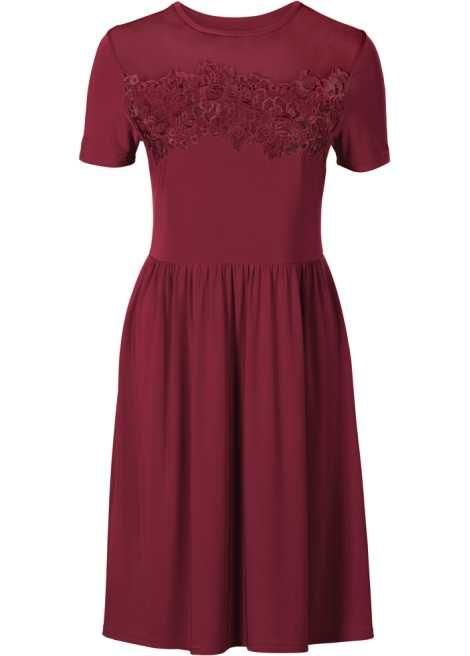 Kleid mit Spitzen-Applikation dunkelrot - BODYFLIRT online ...