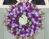 "Purple 18"" Tulip Door Wreath. 45.00, via Etsy."
