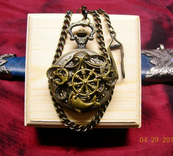 Steampunk Nautical Octopus with Ship Wheel by mythicaljewelry, $49.99