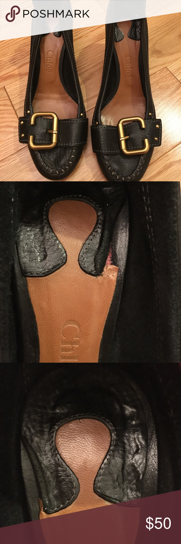 Chloe leather buckle pumps. Size 37.5 Black leather buckle pumps by Chloe.  Size 37.5 interior pad at the heels are coming up and there is some chipping on the right heel.   Please review the imperfections in the photos above.  Leather is in very good condition.  Very cute shoes. 👠 Chloe Shoes Heels