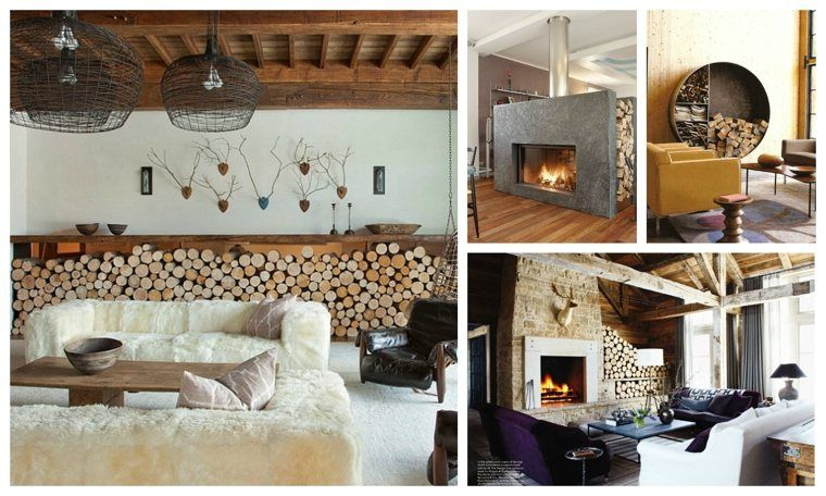 Frisse ideeën voor het opslaan van brandhout in een modern huis