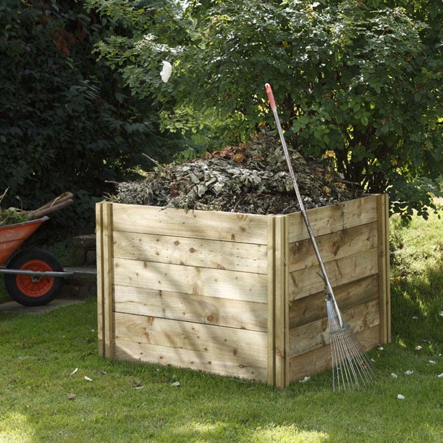 Garden Storage - Slot Down Composter  Recycle your green waste in our large 650L capacity compost bin. The slotted posts are longer in length enabling you to fix them in the ground and secure into place. To access your mature compost, simply remove the individual side boards.  82cm x 106cm x 106cm.  Pressure treated with preservative and guaranteed against rot for 15 years. FSC Certified
