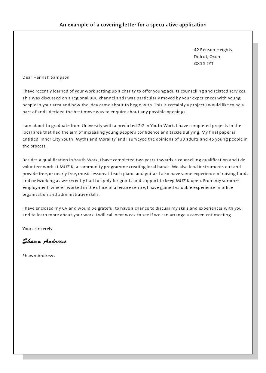 example covering letter for a speculative application