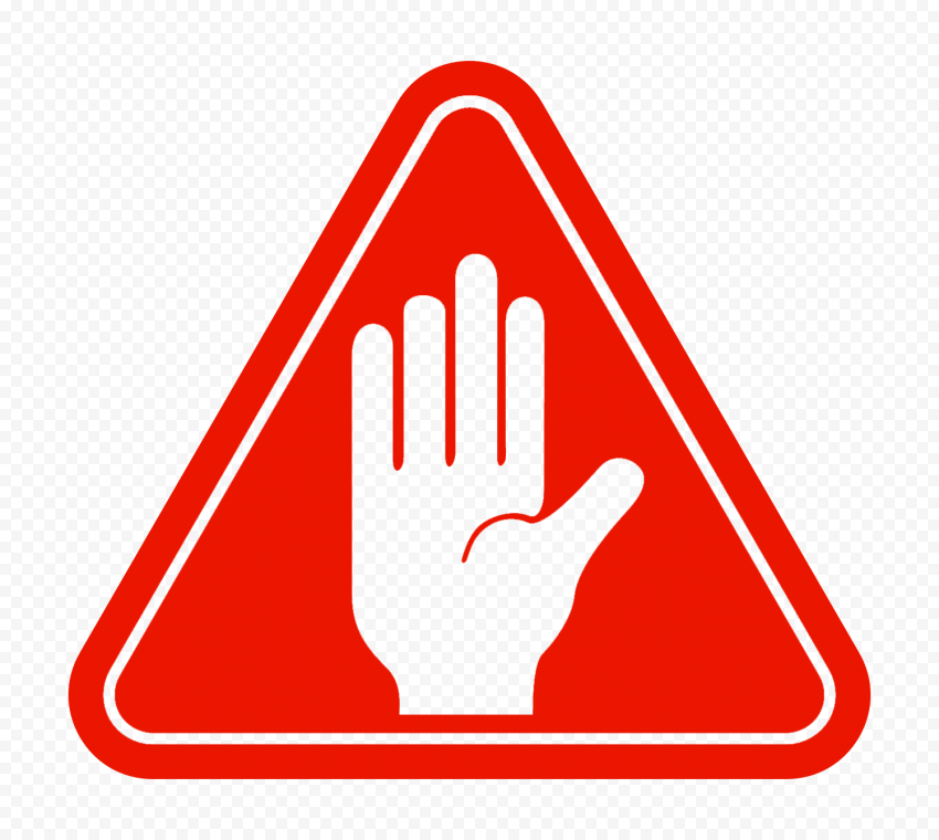 Hd Outline Hand Stop Silhouette On Red Triangle Road Sign Png Triangle Road Signs Outline Png