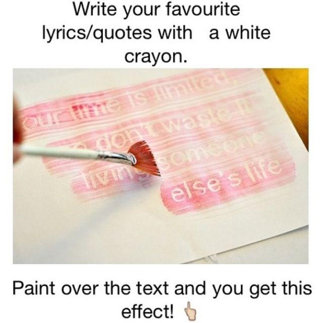Secret message with a white crayon & tempra paint | Cub