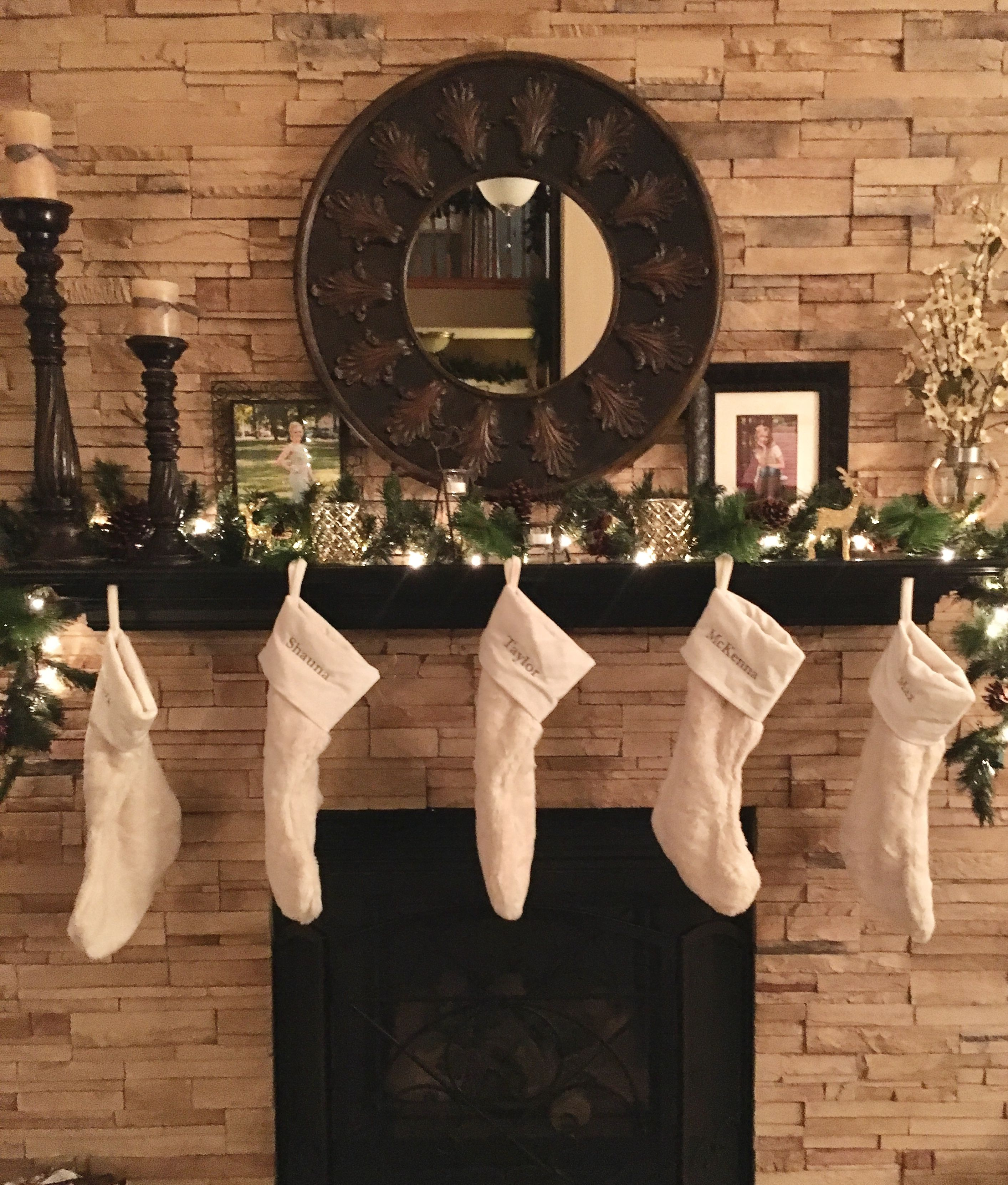 Christmas Stocking Decorations For Fireplace With Garland ...