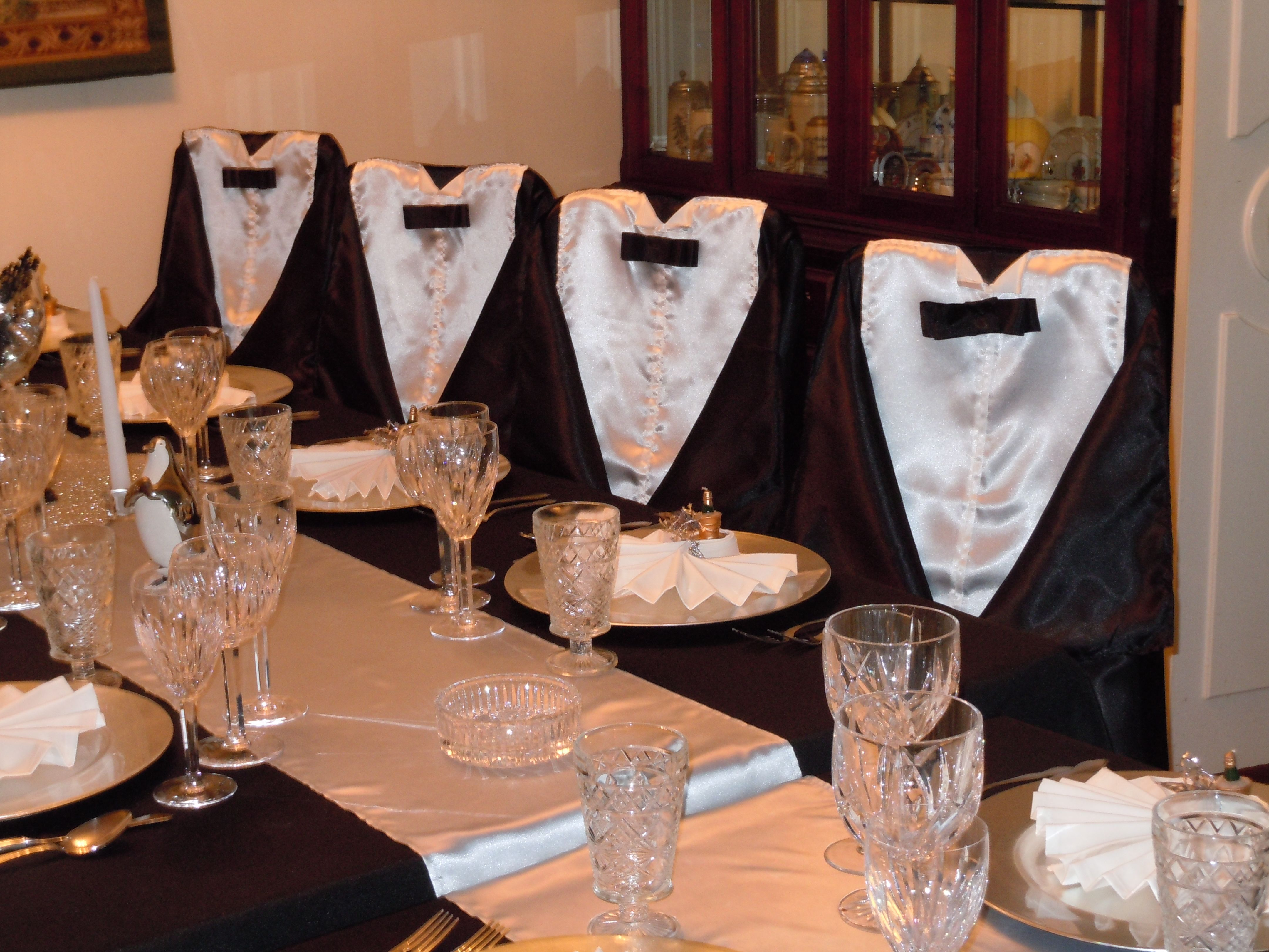 Chair Covers New Year Shiatsu Massage Years Decor Using Sateen With White Table Runners To Create Tuxedo Chairs