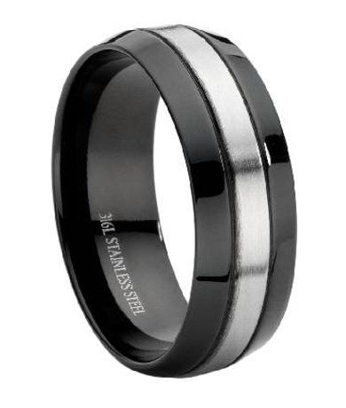 Stainless Steel Black Mens Wedding Ring Stainless Steel Wedding Bands Mens Wedding Rings Black Steel Wedding Ring
