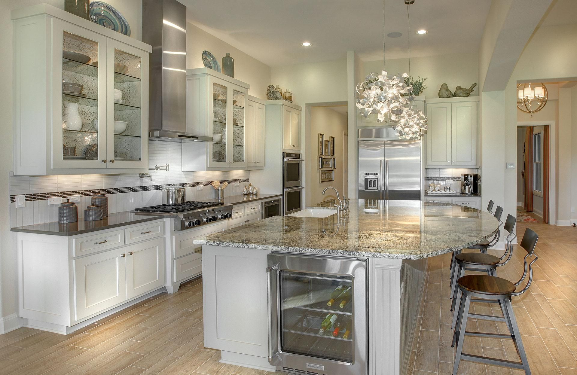 Wine Cabinet in Island   Custom kitchen cabinets, Curved ...