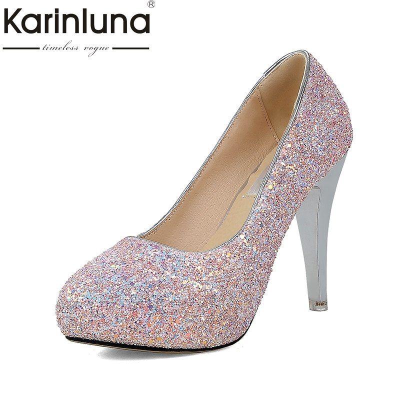 KARINLUNA 2018 Large Size 33-43 Office Platform Spike Heels Woman Shoes  Slip On Elegant 4315c78f9193
