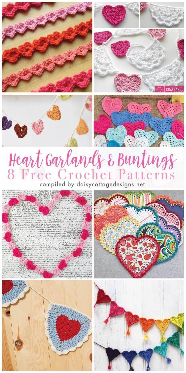 Crochet Heart Pattern Collection   Pinterest   Guirnaldas