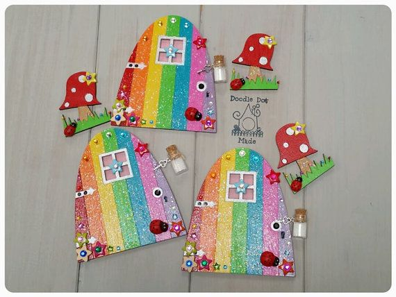 Fairy door rainbow fairy door hand painted fairy door for Painted fairy doors