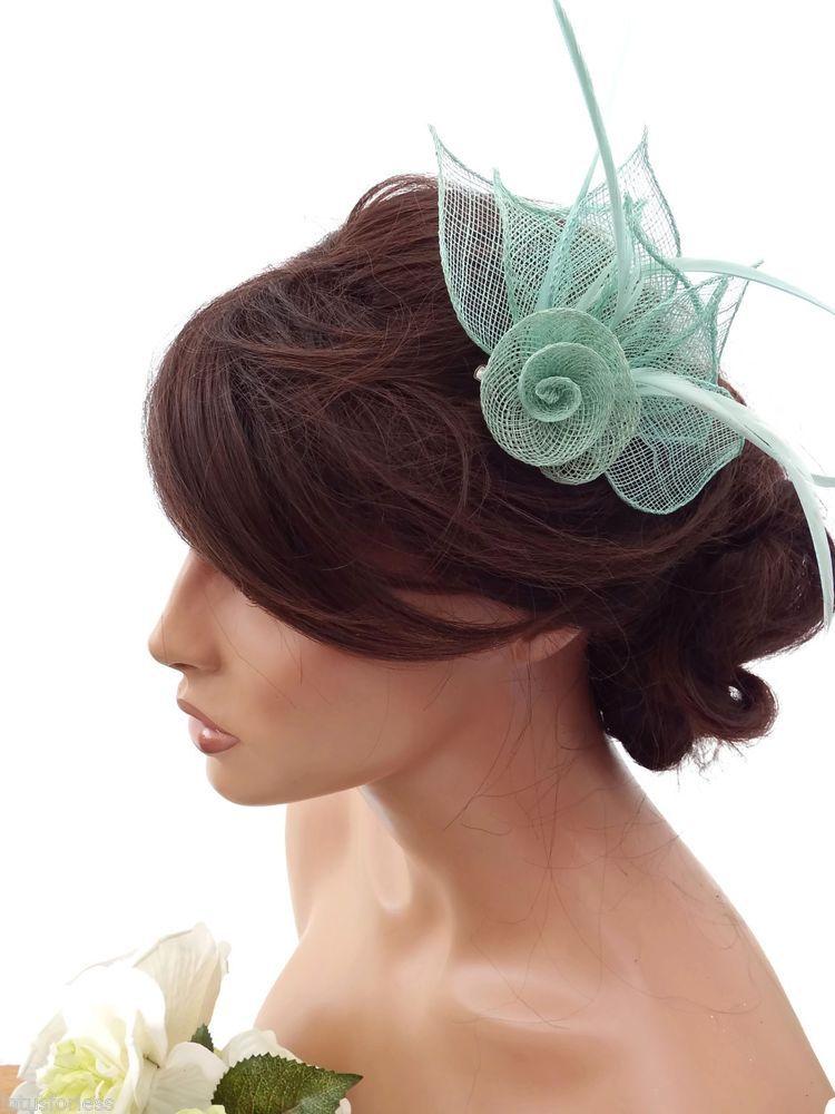 2de03ccb72b81 Elegant Mesh Mint Green Rose Flower Hair Clip Grip Fascinator Feathers  Corsage