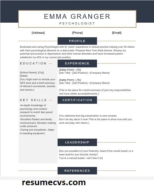 Professional Psychology CV Templates, Sample & Guide in