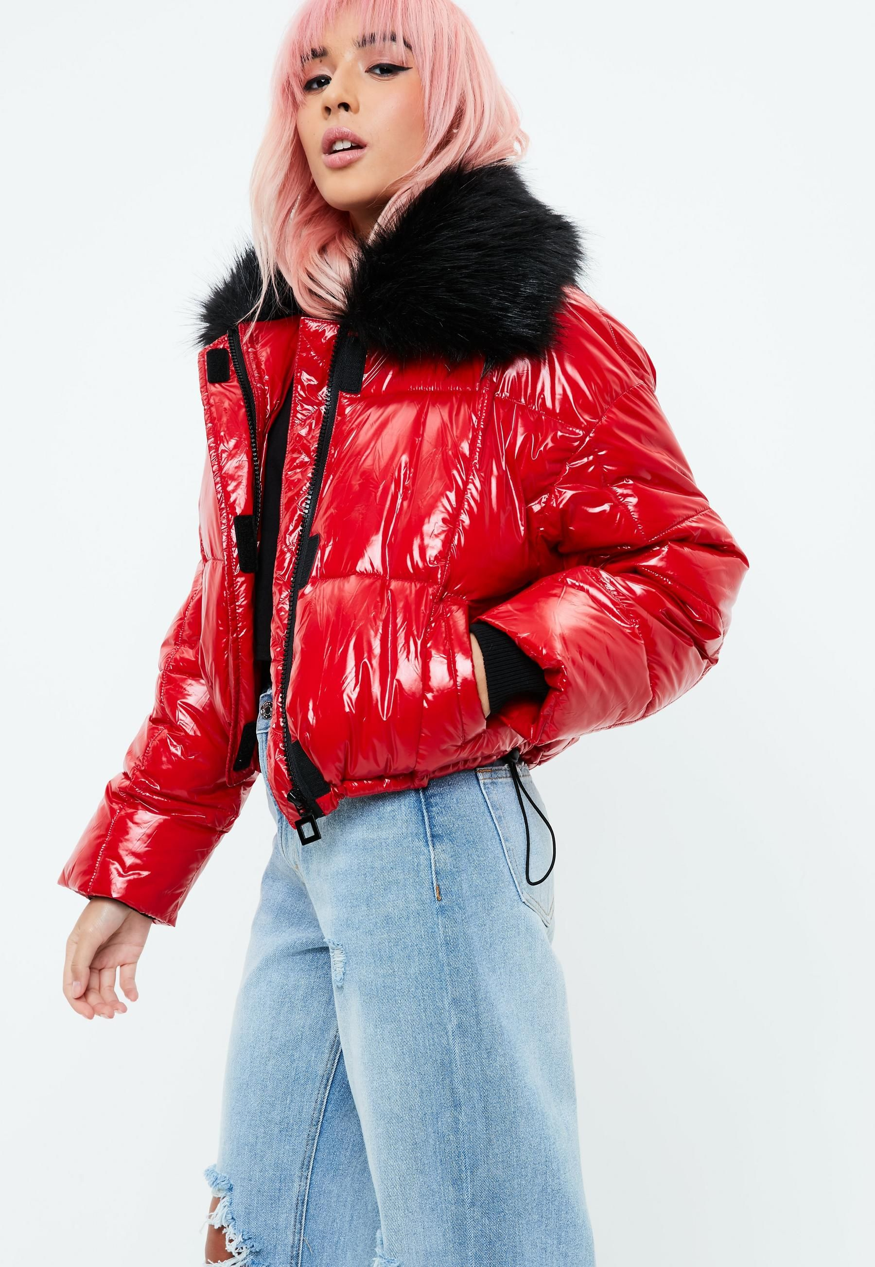 Red Faux Fur Puffer Jacket Missguided Winter 2017 Jackets
