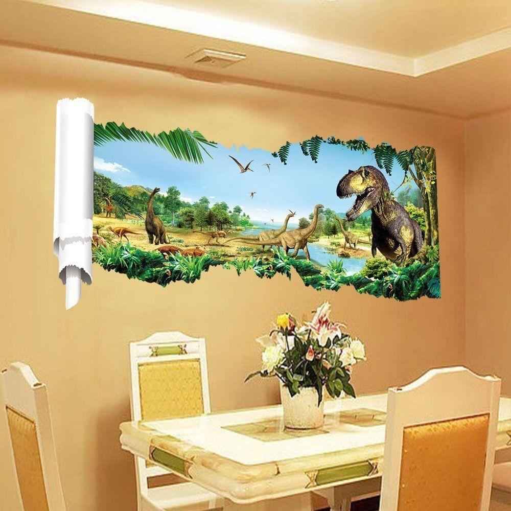 3D View Dinosaur Kids Room Wall Sticker Home Decor Decal Mural Art ...