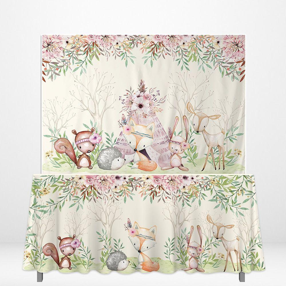 Allenjoy Wild One Photozone Backdrops Forest Deer Safari Backdrop Rectangle Tablecloth DIY Birthday