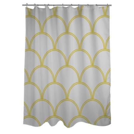 Thumbprintz Art Deco Circles Grey And Yellow Shower Curtain Walmart Com Patterned Shower Curtain Yellow Shower Curtains Shower Curtain Art