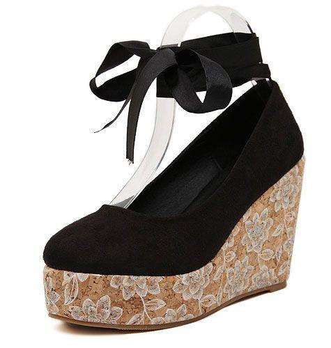 b34178e5788e GrabMyLook Black Suede Floral Platforms Round Head Ankle Straps Wedges  Women Ballerina Shoes