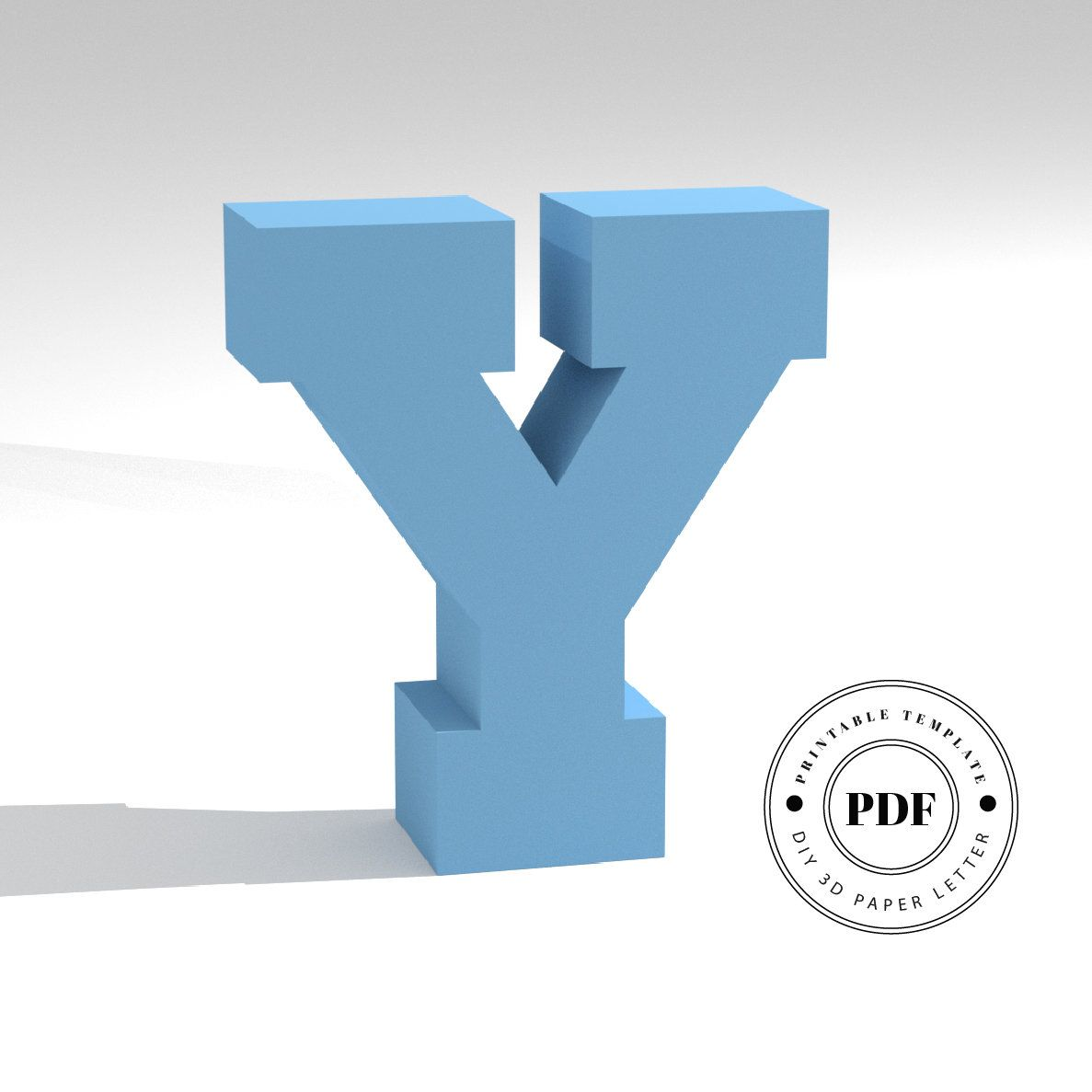 Printable DIY template (PDF). Letter Y low poly paper