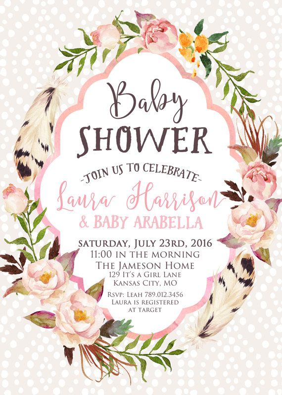Girl Baby Shower Invitation Printable, Boho Chic Feathers Floral Wreath Invite, Spring Its a Girl Baby Sprinkle, Pink Coral, Bohemian Invite your guests with this boho chic design. PLEASE NOTE: This item is a DIGITAL FILE. You are purchasing a digital file only. No physical item