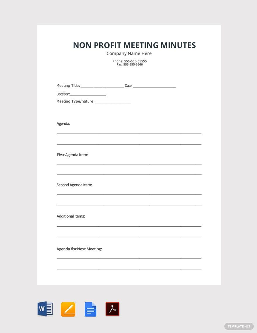 Free Non Profit Meeting Minutes Template Word Doc Google Docs Apple Mac Pages In 2020 Agenda Template Meeting Agenda Template Templates
