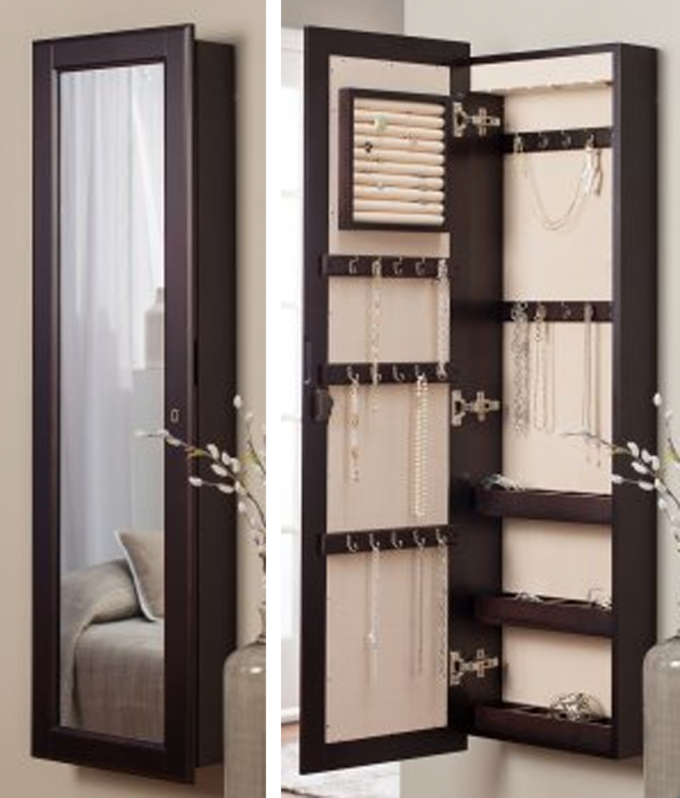 Elegant Wooden Standing Mirror Jewelry Armoire In Dark Brown Before The  Silver Wall For Bedroom Decor Ideas