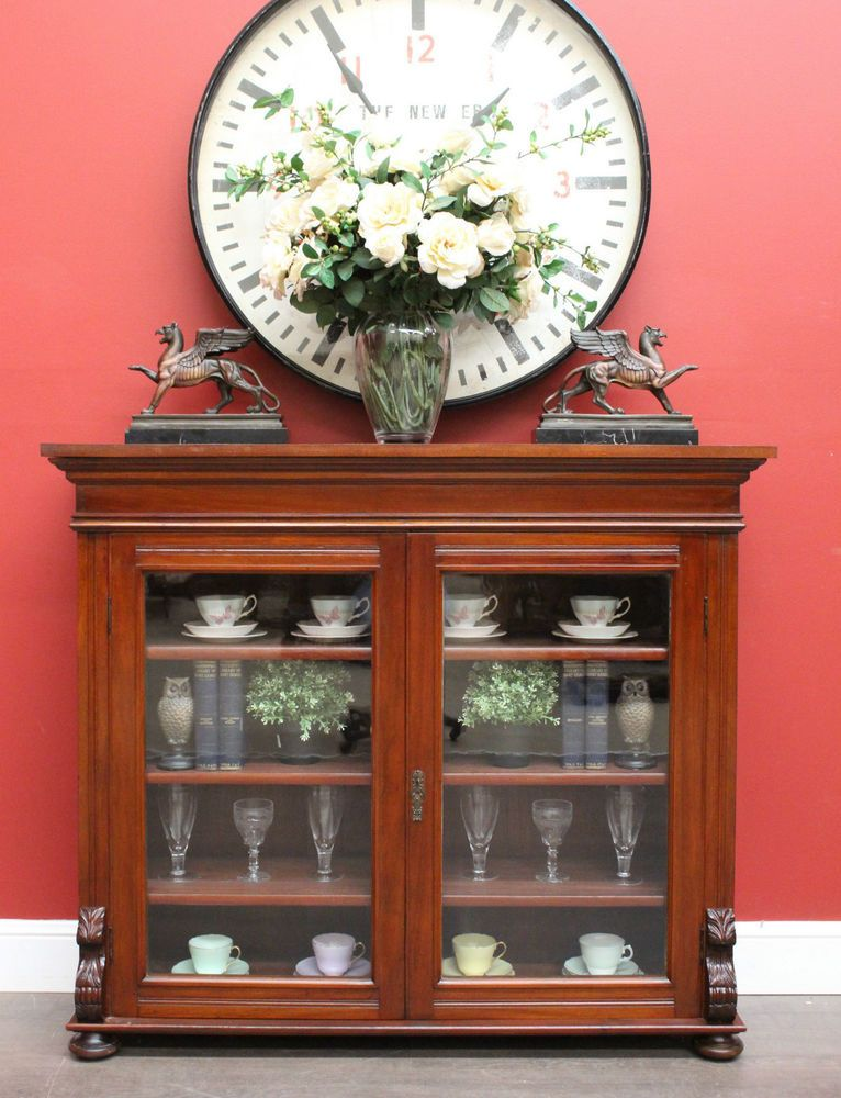 *Because* Antique Australian Cedar Narrow Sideboard Hall China Cabinet  Cupboard Bookcase - Because* Antique Australian Cedar Narrow Sideboard Hall China