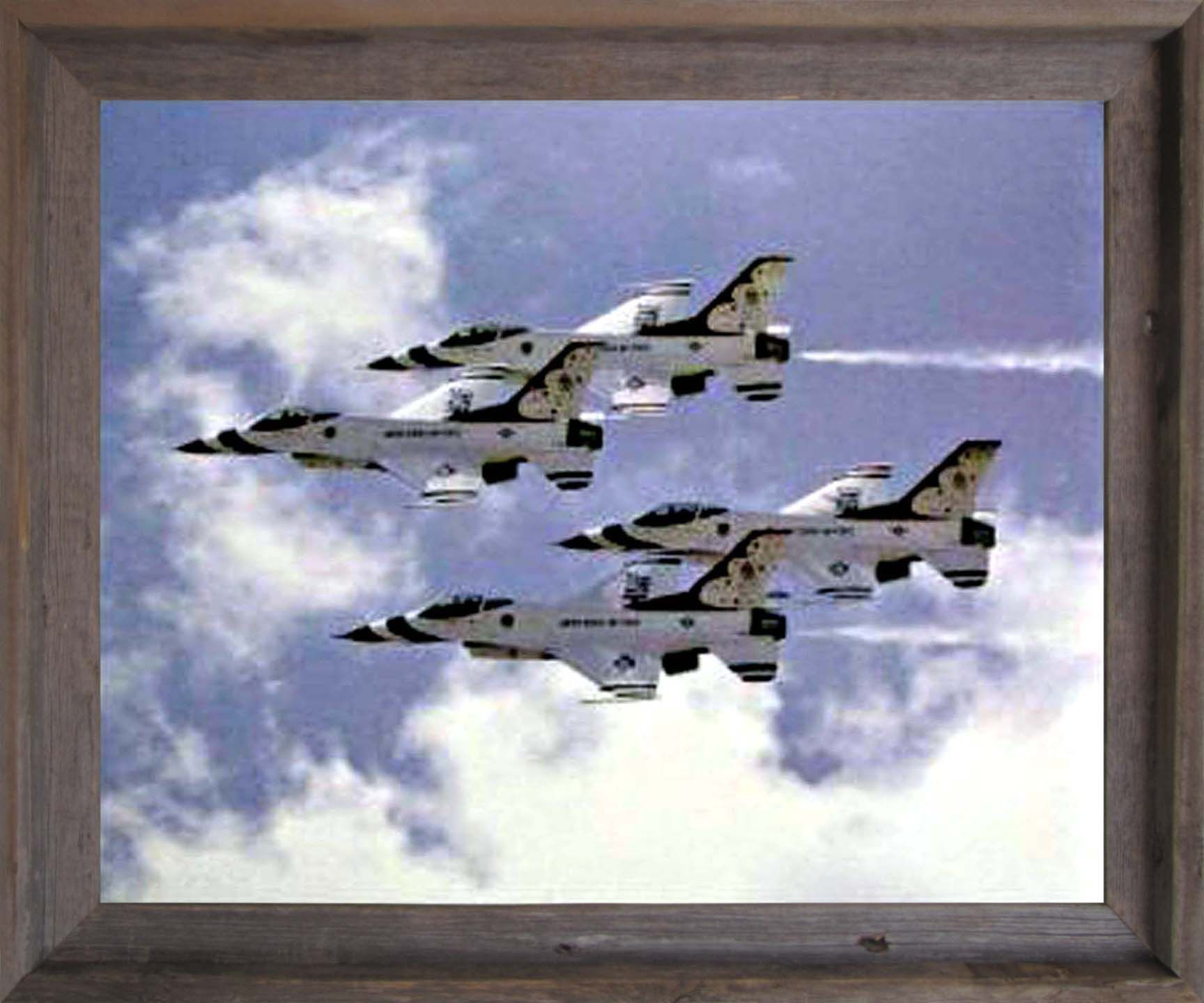 The Thunderbirds are the Air Demonstration Squadron, of the U.S. Air Force based at Nellis AFB, Las Vegas, Nevada. The aircraft support Air Force recruiting and retention programs. Its wooden barnwood  frame accentuates the poster mild tone. The frame is made from solid wood measuring 19x23 inches with a smooth gesso finish.  Impact posters gallery also offers high quality framed posters which are perfect for decorators on a budget. Hurry up! Make your order today.