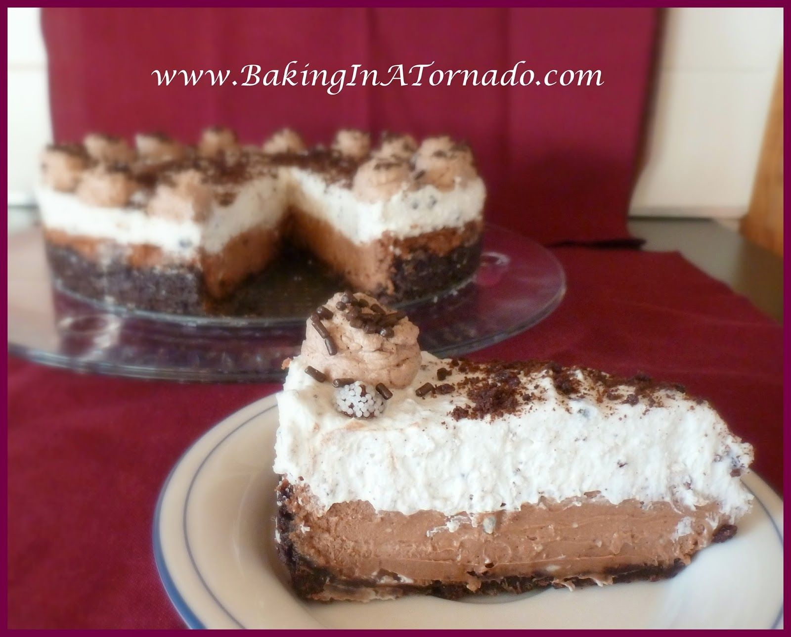 Double Chocolate Cheesecake Pie - Baking In A Tornado