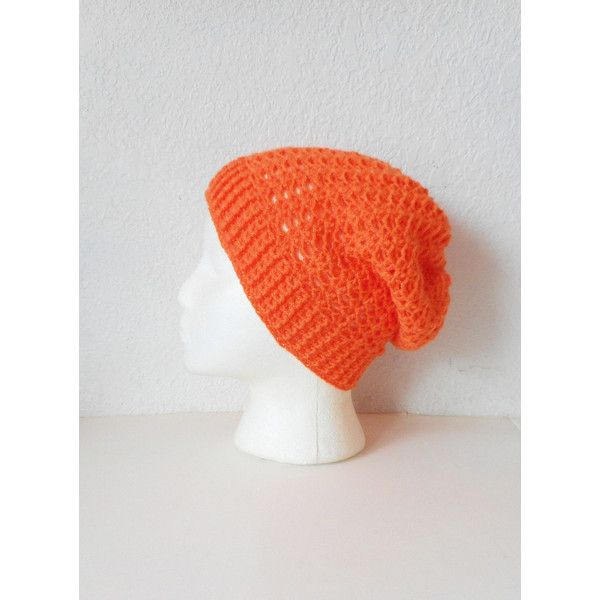 Lacy Slouch Skullcap Beanie Hat in Tangerine, ready to ship. (€40) ❤ liked on Polyvore featuring accessories, hats, slouch hat, slouch beanie, slouchy beanie, beanie hats and slouch beanie hats
