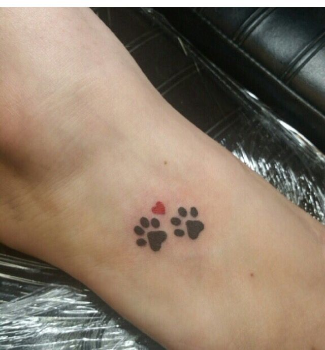 Paw Prints And A Heart For My Peanut Butter Rip Upper Right Foot 2016 Small Dog Tattoos Tattoos Print Tattoos