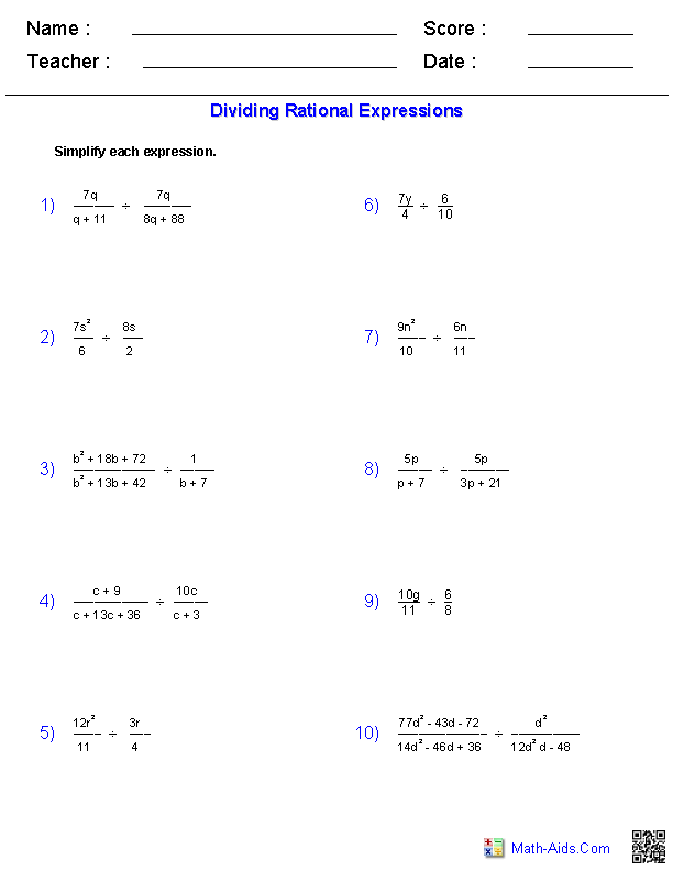 Algebra 1 Worksheets Rational Expressions Worksheets Rational Expressions Simplifying Rational Expressions Math Expressions
