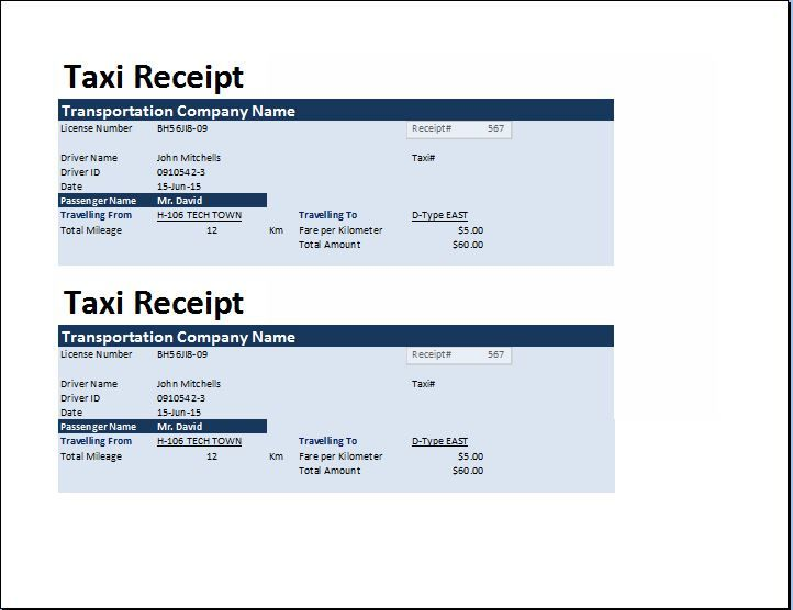 MS Excel Taxi Receipt Template Collection of Business Receipts - create a receipt in word