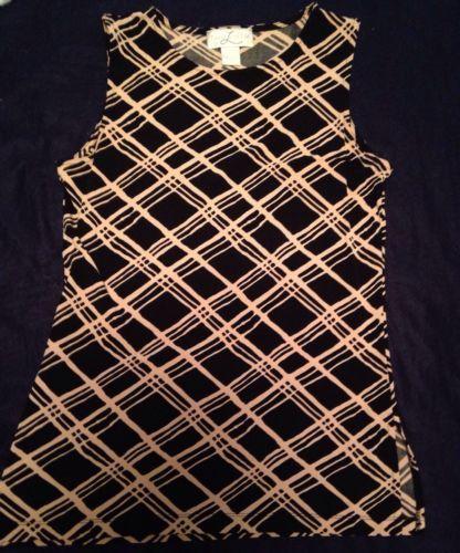 Womens Laura Leigh Black Beige Stretch Rayon Sleeveless Tank Dressy Blouse Sz. M $14.99 #dressy #careerwear #classy #careerwoman #officewear