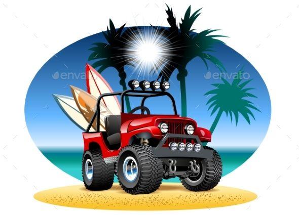 Cartoon 4x4 Car On Beach Train Illustration 4x4 Car Cartoon