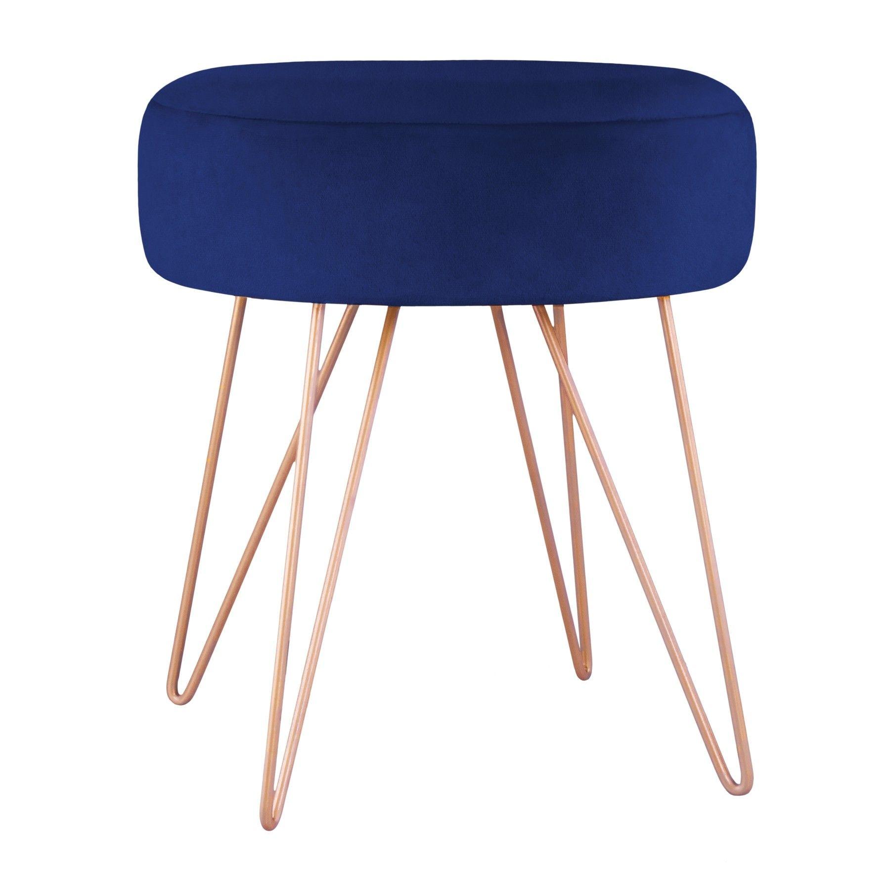 Arles Taboret Welurowy Niebieski 35x40 Cm Aksamitny