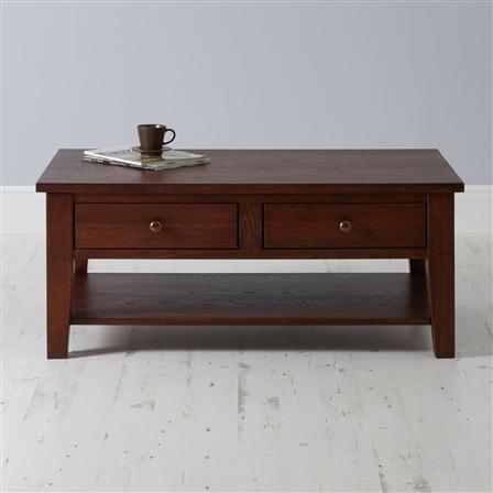 Serra Coffee Table With Drawers Dark Oak
