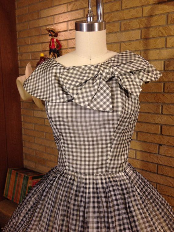 Vtg 1950's 50s Black and White Check Gingham by BillyKittenVintage