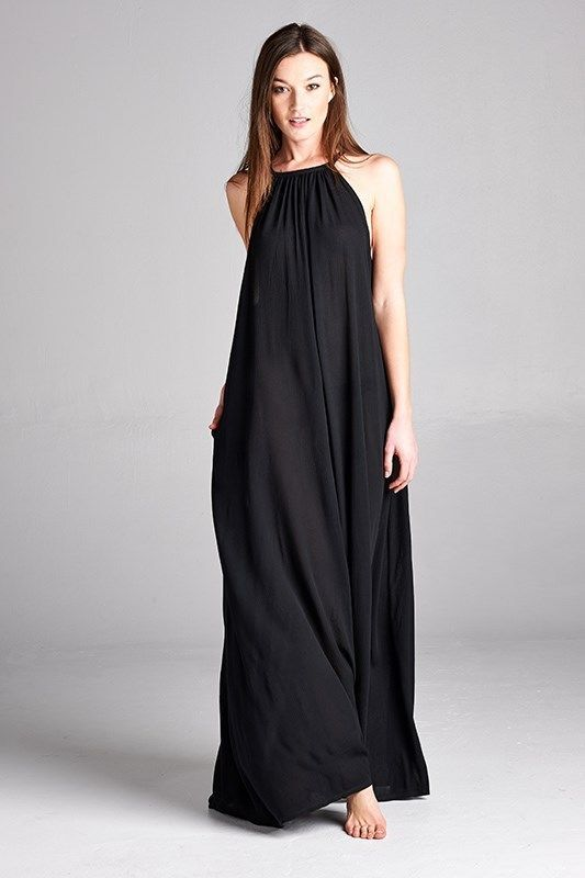 083a300b6649 Casual Oversize Rayon gauze Flowy halter boho Drapey Maxi Dress   lovingpeople  Maxi  Casual