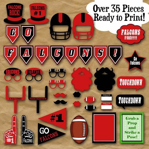 Atlanta Falcons Football Photo Booth Props And Party Decorations