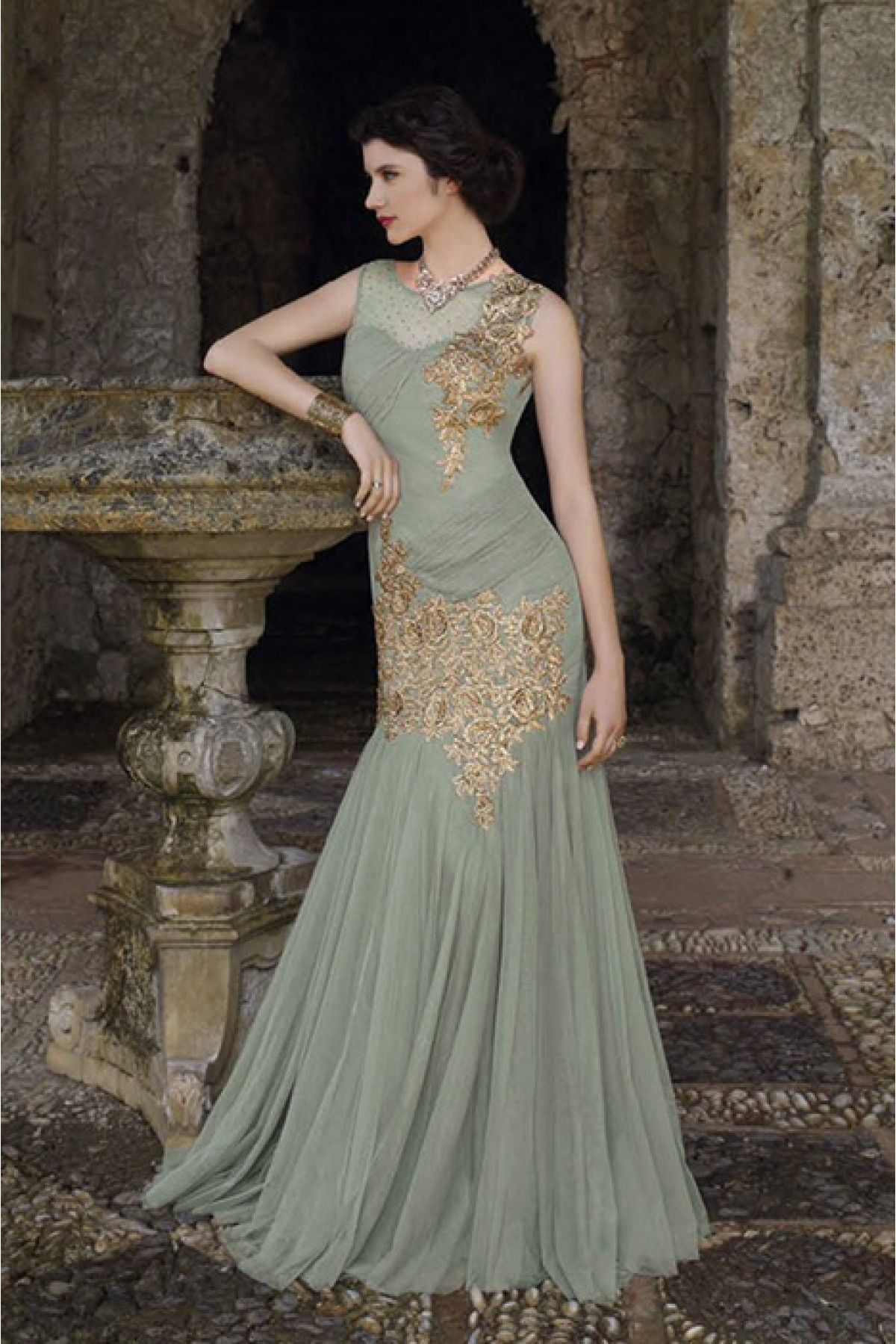 georgette and chiffon semi stitched party wear gown in grey colour
