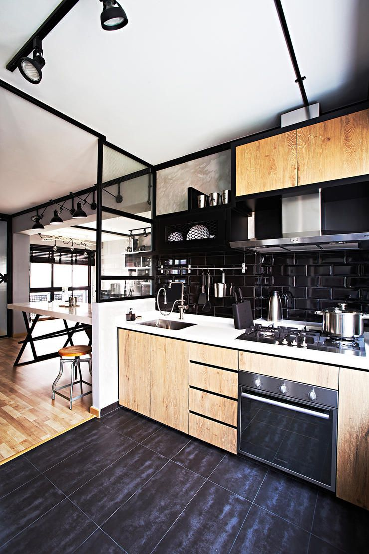 Kitchen Backsplash Singapore this industrial hdb flat is edgy yet cosy | singapore, display and