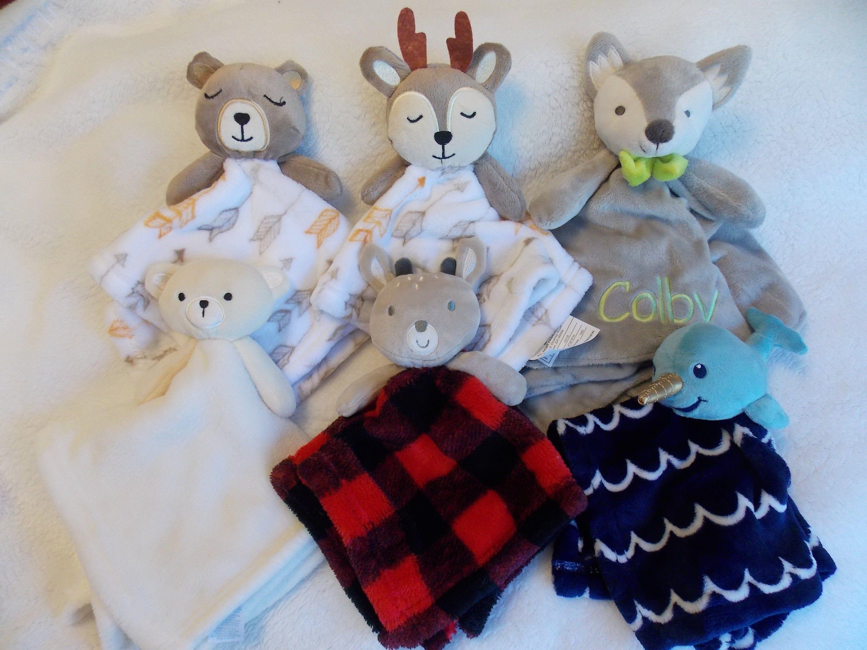 Personalized Lovey, Security Blanket, Lovey Blanket, Lovie Deer Buffalo Plaid Woodland Narwhal Fox Bear