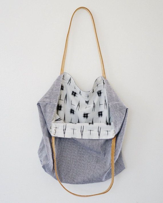 Market Tote made out of denim and cotton with leather straps! | Waxmyrtle Goods via Etsy | Handmade in Edmonds, WA